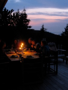 Candlelit dinner on Salt Spring Island