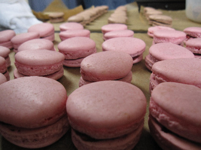 Wedding macarons, raspberry and nutella